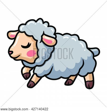 Vector Illustration Of Cute Happy Baby Sheep Cartoon