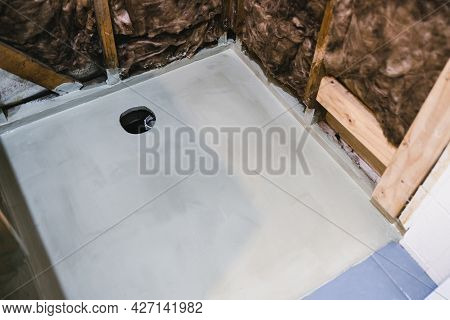 Shower Renovation With Shower Walls Interior Exposed And Waterproofing On The Shower Base Floor, Hom