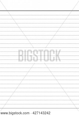 Detailed Lined Paper Texture White Background. Isolated Practice Paper Sheets Writing. A4 Lined Illu