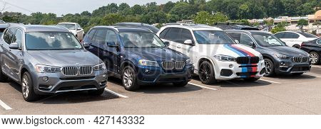 Monroeville, Pennsylvania, Usa July 18, 2021 Different Colored Bmw Suvs Lined Up At A Dealership On