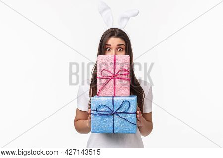Celebration, Holidays And Presents Concept. Waist-up Portrait Of Lovely Young Adorable Woman In Rabb