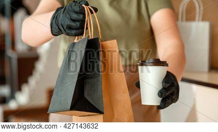 Waiter Giving Takeout Meal While City Covid 19 Lockdown, Coronavirus Shutdown. Unrecognizable Woman