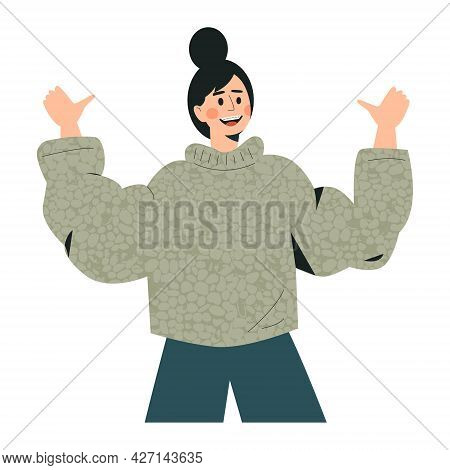 Woman Showing Thumbs Up Sign. Attractive Young Girl Giving A Thumb Up. Like Sign, Joy, Approval, Hap