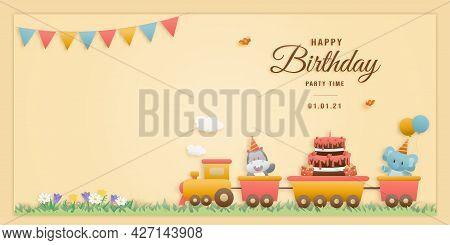 Cute Animals On Train Birthday Greeting Card. Jungle Animals Celebrate Children's Birthdays And Temp