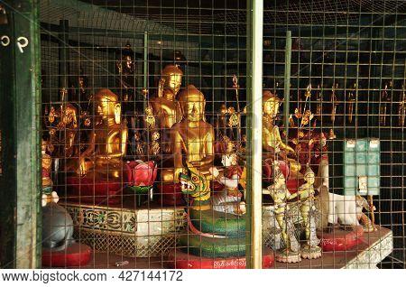 Golden Buddha Statue Burma Style In Shwezigon Paya Temple Pagoda Chedi For Burmese People And Foreig