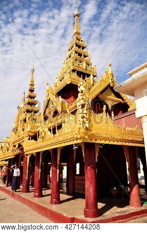 Shwezigon Pagoda Paya Of Burmese Temple For Burma People Foreign Traveler Travel Visit Respect Prayi
