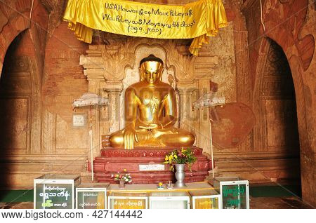 Golden Buddha Image Statue Burma Style In Dhammayangyi Paya Temple For Burmese People And Foreign Tr