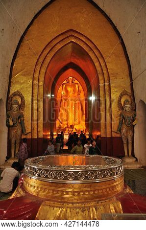 Golden Buddha Image Statue Burma Style In Ananda Paya Temple Pagoda Chedi For Burmese People And For