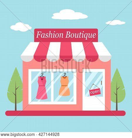 Fashion Boutique Store Facade In Flat Design. Trendy Dress Shop.