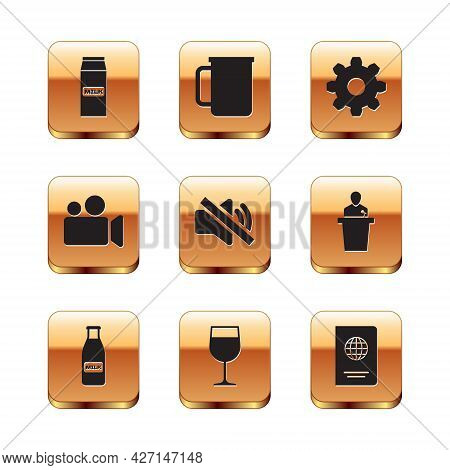 Set Paper Package For Milk, Glass Bottle And Cap, Wine Glass, Speaker Mute, Movie Video Camera And C