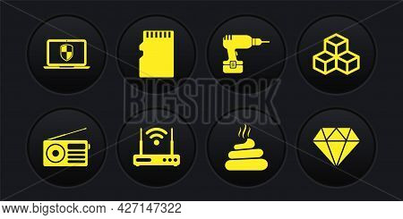 Set Radio, Isometric Cube, Router And Wi-fi, Shit, Drill Machine And Micro Sd Memory Card Icon. Vect