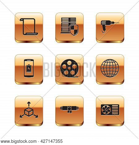 Set Paper Scroll, Isometric Cube, Diploma Rolled, Film Reel, Smartphone Battery Charge And Drill Mac
