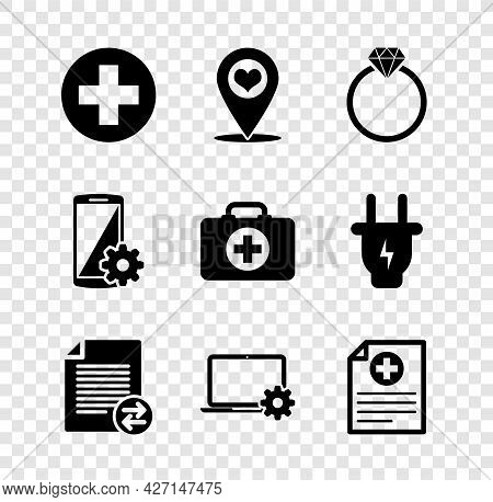 Set Medical Cross In Circle, Map Pointer With Heart, Diamond Engagement Ring, Transfer Files, Laptop