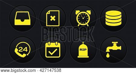 Set Telephone 24 Hours Support, Database, Calendar With Check Mark, Tombstone Rip Written, Alarm Clo