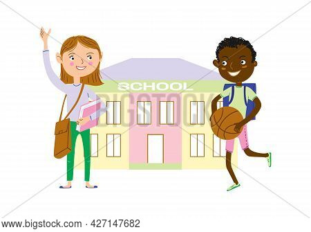 Сartoon Happy Children On The Way To School. Back To School Vector Illustration.