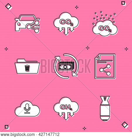Set Car Sharing, Co2 Emissions Cloud, , Delete Folder, Refund Money And Share File Icon. Vector