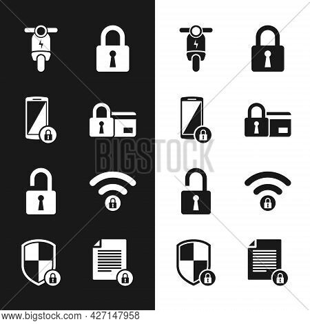 Set Credit Card With Lock, Smartphone, Electric Scooter, Lock, Open Padlock And Wifi Locked Icon. Ve