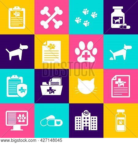 Set Pets Vial Medical, Medical Certificate For Dog Or Cat, Dog Pooping, Paw Print, And Icon. Vector