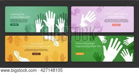 Collection Volunteer Opportunity Banner Landing Page Vector Flat Illustration Webpage User Interface