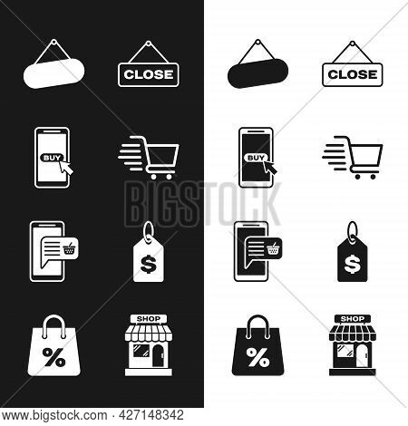 Set Shopping Cart, Mobile And Shopping, Signboard Hanging, Hanging Sign With Close, Basket, Price Ta