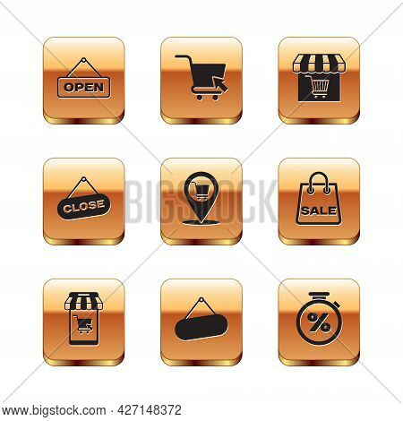 Set Hanging Sign With Open Door, Mobile And Shopping Cart, Signboard Hanging, Location, Close, Marke