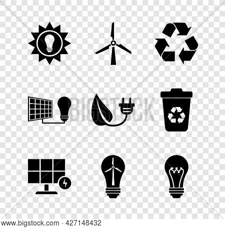 Set Solar Energy Panel, Wind Turbine, Recycle Symbol, Light Bulb With Wind, And Light And Electric S