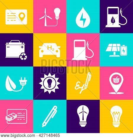 Set Light Bulb, Location Shopping Basket, Solar Energy Panel And Battery, Water, Hydrogen Car, Car W