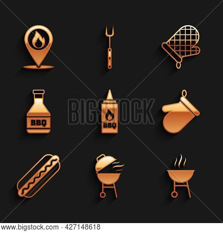 Set Ketchup Bottle, Barbecue Grill, Oven Glove, Hotdog Sandwich, And Location With Fire Flame Icon.