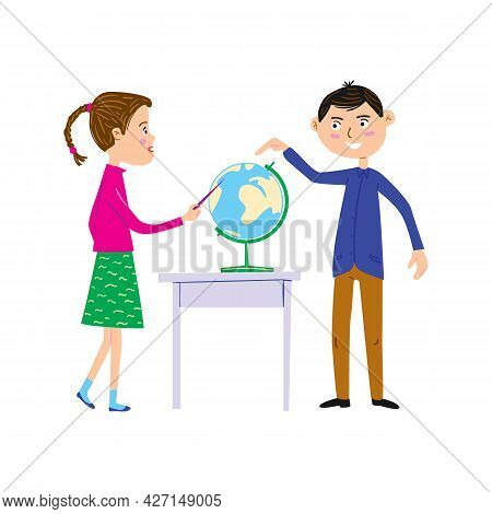 Schoolgirl And Teacher In Geography Lesson. Girl Shows A Point On The Globe And Man Asks Question. B