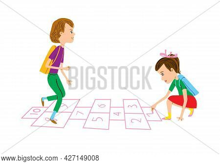 Schoolchildren Play Hopscotch. Girl Draws With Chalk And Boy Jumps On One Leg. Back To School Vector