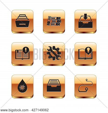 Set Drawer With Documents, Dirty Water Drop, Wrench And Gear, Interesting Facts, Download Inbox, Rou