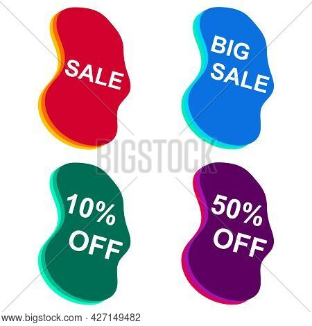 Sales Label, Sale Discount Labels Badges Isolated On White Background. Vector Illustration. Vector.