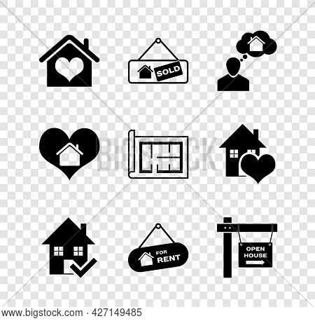 Set House With Heart Shape, Hanging Sign Sold, Man Dreaming About Buying House, Check Mark, For Rent