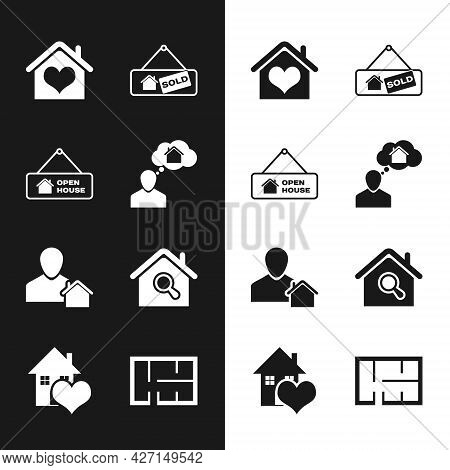 Set Man Dreaming About Buying House, Hanging Sign With Open, House Heart Shape, Sold, Realtor, Searc