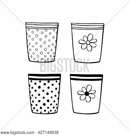 Empty Flower Pots For Indoor Plants And Flowers. Hand Drawn Simple Black Outline Vector Illustration
