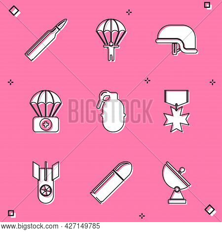 Set Bullet, Parachute, Military Helmet, With First Aid Kit, Hand Grenade, Reward Medal, Nuclear Bomb