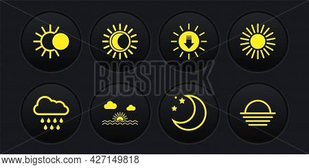Set Cloud With Rain, Sun, Sunset, Moon And Stars, Eclipse Of The Sun, And Icon. Vector