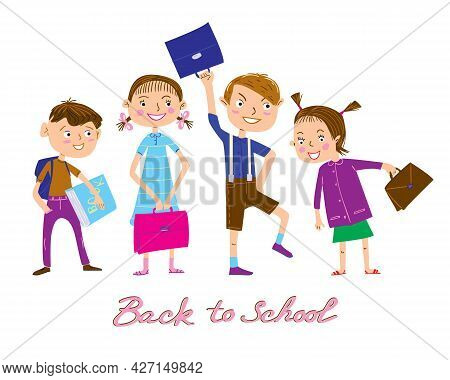 Cartoon Schoolboys And Schoolgirls Vector Set. Joyful Children With Schoolbags Ready To Go Back To S