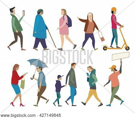 Walking People Set. Men And Women, Elderly And Young, On Foot And On Scooter, With Umbrella And Phon