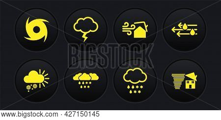 Set Cloudy With Snow, Wind And Rain, Tornado Swirl, Storm, And Icon. Vector