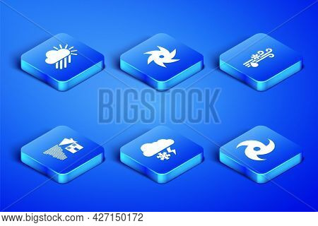 Set Tornado, Cloudy With Rain And Sun, Snow Lightning, Swirl, And Wind Icon. Vector