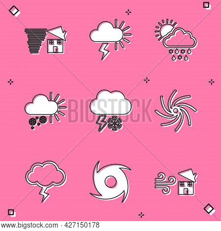 Set Tornado Swirl, Storm, Cloud With Snow, Rain, Sun, Cloudy, And Lightning, And Icon. Vector