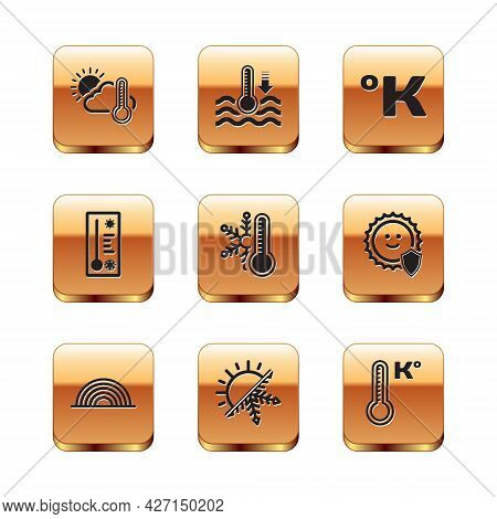 Set Thermometer And Cloud, Sun, Rainbow, Sun Snowflake, With, Meteorology Thermometer, Kelvin, And W