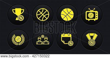 Set Award With Basketball Ball, Basketball Match On Tv, Players, Sport Calendar, Medal And Cup Icon.