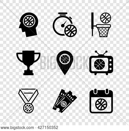Set Thoughts On A Basketball, Stopwatch With, Basketball And, Medal, Game Ticket, Sport Calendar, Aw