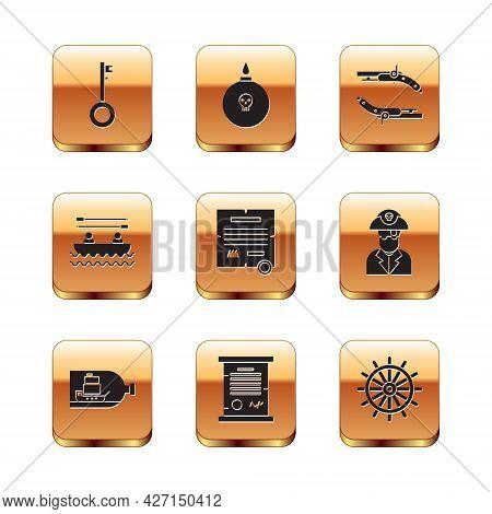 Set Pirate Key, Bottle With Ship Inside, Decree, Parchment, Scroll, Boat Oars, Vintage Pistols, Ship