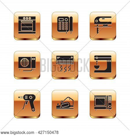 Set Oven, Electric Hot Glue Gun, Planer Tool, Air Conditioner, And Jigsaw Icon. Vector