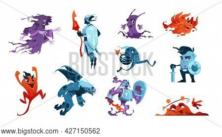 Cartoon Game Monsters. Alien Creatures And Mascot Characters. Boss Of Enemies And Beasts. Gaming Des