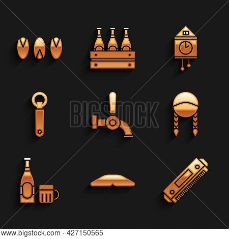 Set Beer Tap, Homemade Pie, Harmonica, Braid, Bottle And Glass, Bottle Opener, Retro Wall Watch And