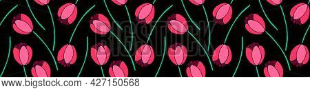 Vector Seamless Pattern With Red Tulip Flowers. Hand Drawn Doodle Spring Texture, Background. For Wr